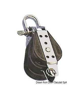 Poulie double billes attache avec manille et ringot 14x76mm