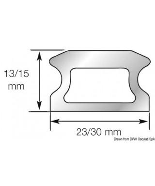 Rail percé 2 Longueur 3026mm Largeur 30mm hauteur 15mm Fixation M8