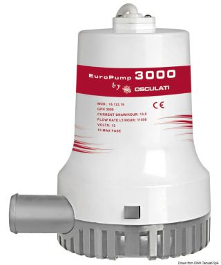 Pompe de cale immergée Europump II 3000 12V Débit 192 L/m