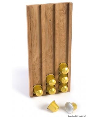 Porte-capsule à café teck Nespresso 14x31x1,6 cm