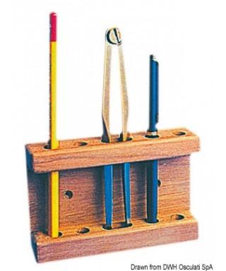 Porte-crayons compas teck 115x25x75 mm