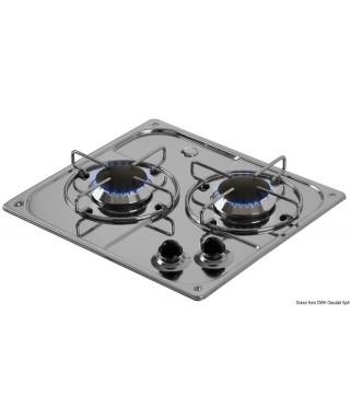 Plaque cuisson inox à encastrer 2 feux 350x320 mm