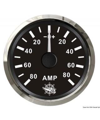 Ampèremètre avec shunt 80 A Cadran noir lunette polie 51mm