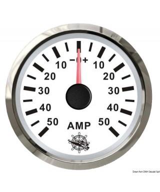 Ampèremètre avec shunt 50 A Cadran blanc lunette polie 51mm