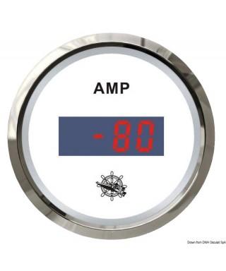 Ampèremètre numérique Cadran blanc lunette polie 51mm