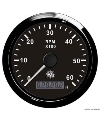 Compte-tours 0-8000 tpm Cadran noir lunette noire 85mm