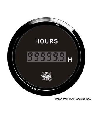 Compte-heures numérique Cadran noir lunette noire 51mm