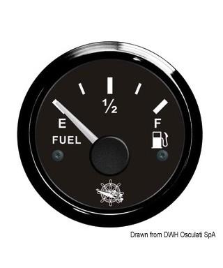 Jauge de carburant 10/190 Ohm Cadran noir lunette noire 51mm