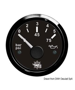 Indicateur pression de l'huile 0/5 bar Cadran noir lunette noire 51mm