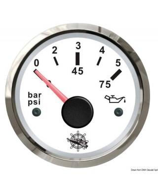 Indicateur pression de l'huile 0/5 bar Cadran blanc lunette polie 51mm