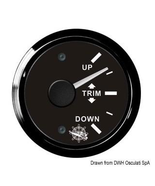 Indicateur de trim 0/190 Ohm Cadran noir lunette noire 51mm