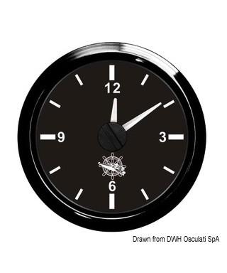 Horloge au quartz Cadran noir lunette noire 51mm