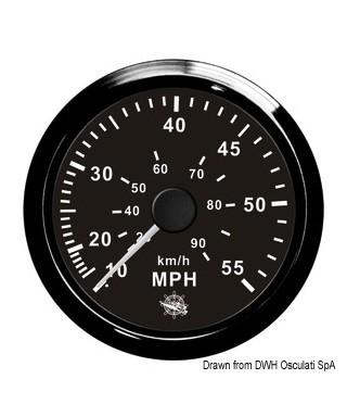 Indicateur de vitesse Pitot 0-65 MPH Cadran noir lunette noire 85mm