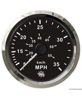 Indicateur de vitesse Pitot 0-65 MPH Cadran noir lunette polie 85mm