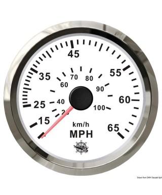 Indicateur de vitesse Pitot 0-55 MPH Cadran blanc lunette polie 85mm