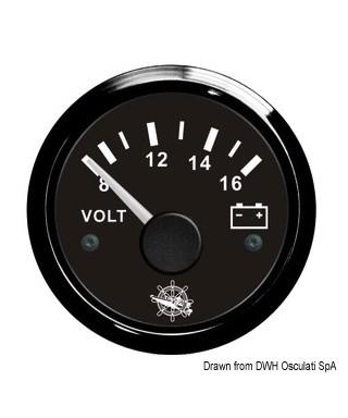 Voltmètre 8/16 V Cadran noir lunette noire 51mm