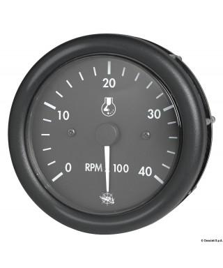 Compte-tours Guardian diesel 0-4000 RPM compteur 12V Cadran noir lunette noire