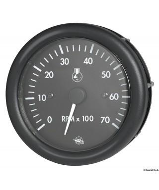Compte-tours Guardian 2/4 temps 0-7000 RPM 12V Cadran noir lunette noire