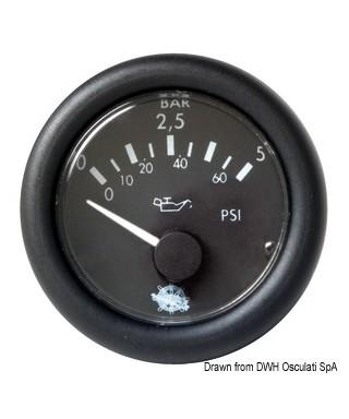 Indicateur pression huile Guardian 0-10bar 12V Cadran noir frette noire