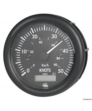 Speedomètre Guardian 0-50 nœuds avec compteur milles 12V Cadran noir lunette noire