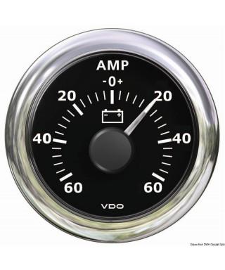 Ampèremètre noir -60A + 60A 12/24V 52mm