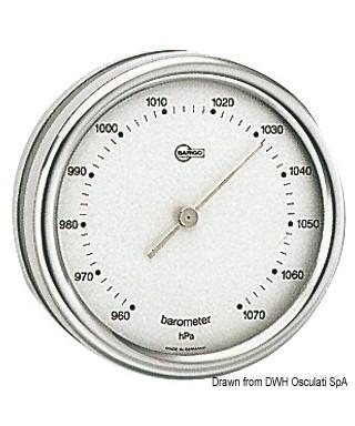 Baromètre Barigo Orion inox poli cadran argenté 85mm
