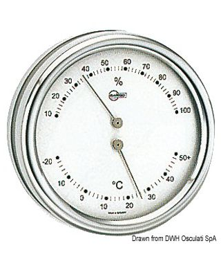 Thermo/Hygromètre Barigo Orion inox poli cadran argenté 85mm