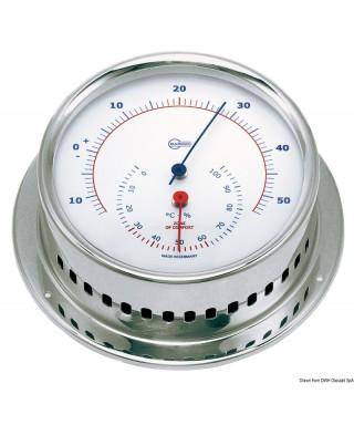 Hygro-thermométer Barigo Sky Boitier inox poli cadran blanc 85mm